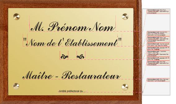 Plaque Maitre restaurateur : texte saisi en ligne