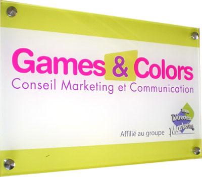 Plaque professionnelle plexi couleur
