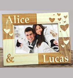 Cadre bois décor ''Couple''