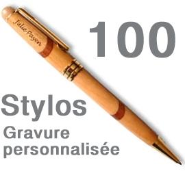 Lot de 100 Stylos <br>personnalisés marqueterie