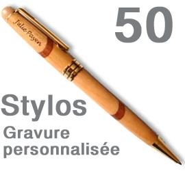 Lot de 50 Stylos <br>personnalisés marqueterie