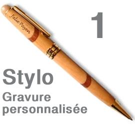 1 Stylo personnalisé Hêtre claire - Marqueterie