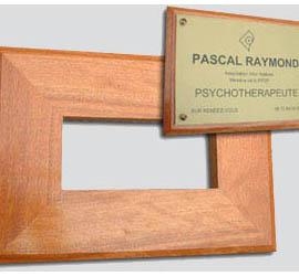 Support bois exotique<br>pour plaque 30x20