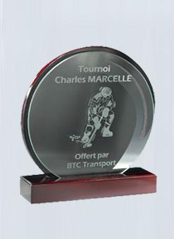 Trophée imitation Acajou + Plaque en verre 159-41
