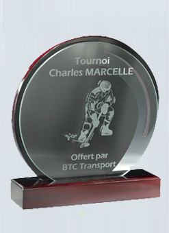 Trophée imitation Acajou + Plaque en verre 159-42